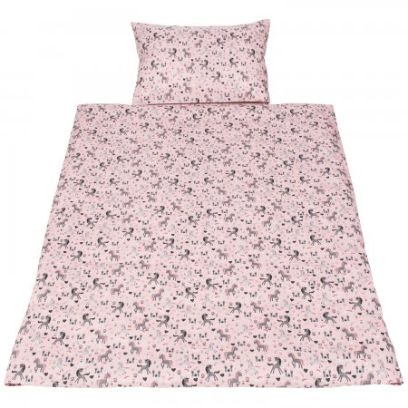 Baby Bettwäsche Kinderbettwäsche Einhörner Unicorn Rosa Grau