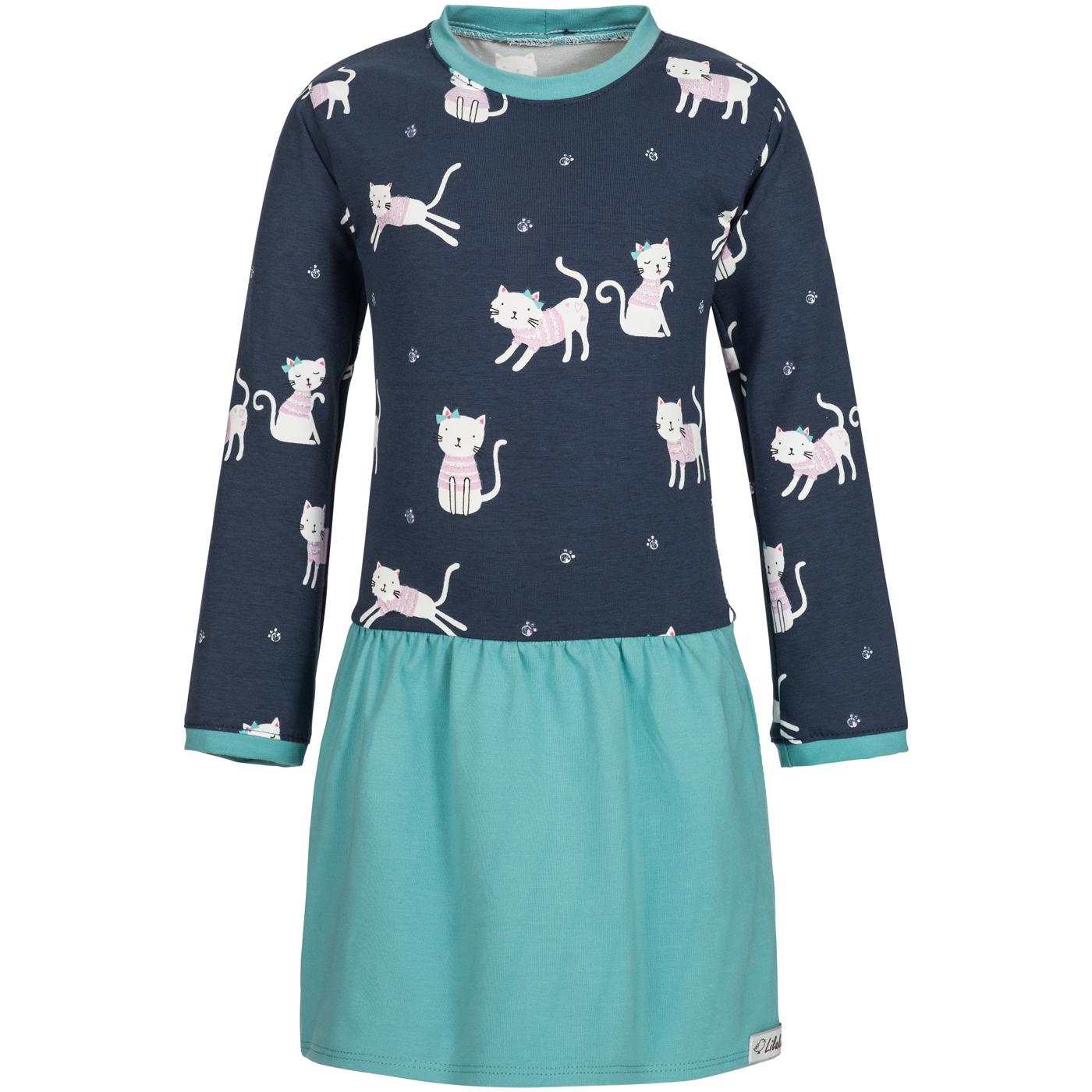 Jersey Kleid Longshirt Langarm mit Rundausschnitt Türkis ...