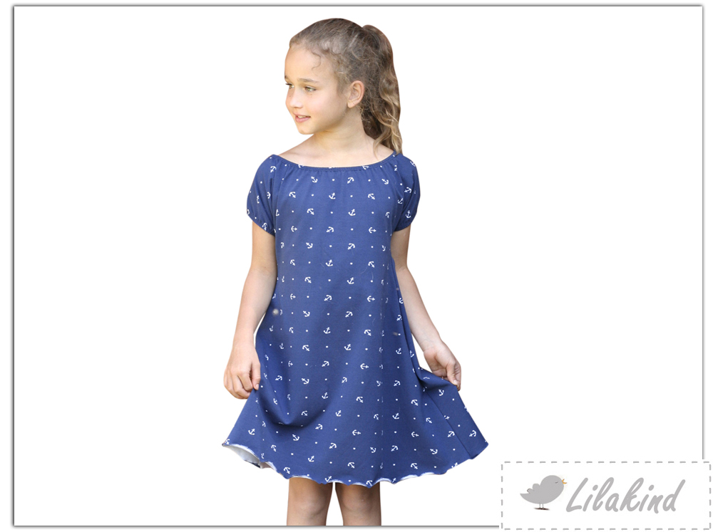 Lilakind - Mädchen Kleid Sommerkleid Carmenkleid Jersey Maritim ...