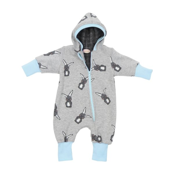 Happy Fleece Overall Bunny Grau Blau