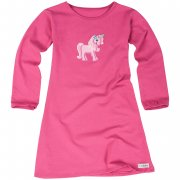 Kleid Langarm Einhorn Applikation Pink