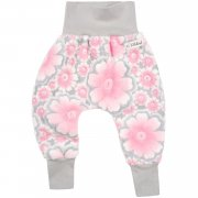 Fleece Pumphose Blumen Rosa Grau